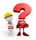Young worker with question mark sign Royalty Free Stock Photography