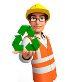 Young worker with recycle icon Stock Photo