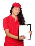 Young worker with red uniform Royalty Free Stock Photography