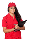 Young worker with red uniform. And clipboard isolated on white background stock photography
