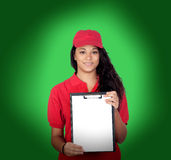 Young worker with red uniform and clipboard Stock Images