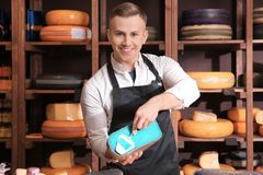 Young worker slicing cheese. In shop Royalty Free Stock Photo