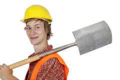 Young worker with spade Royalty Free Stock Photography