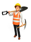 Young Worker with spade Royalty Free Stock Photos