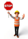 Young worker with stop sign Stock Photo