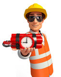 Young worker with time bomb Stock Images