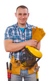 Young worker with tools looking at camera isolated Royalty Free Stock Images