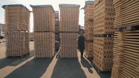 A young worker in uniform walks between wooden pallets in distribution outdoor warehouse. Slow motion. Wide view stock video