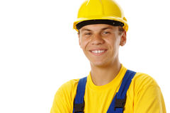 Young worker wearing hard hat Royalty Free Stock Images