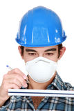 Worker wearing  face mask Stock Image