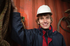 Young worker in white hardhat Stock Photos