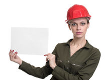 Young worker woman showing blank banner Stock Photo