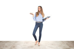 Young working multitasking mother in business clothes Stock Photography