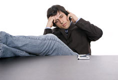Young worried businessman on the phone Royalty Free Stock Photos