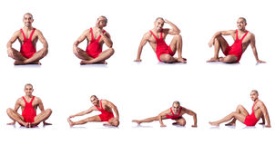 The young wrestler isolated on the white Stock Images