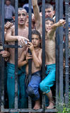 Young wrestlers wait anxiously for the start of competition at the Kirkpinar Turkish Oil Wrestling Festival at Edirne in Turkey. Stock Photo