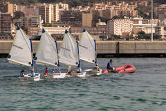 The young yachtsmen training in Ajaccio bay. Royalty Free Stock Image