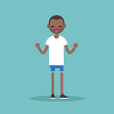 Young yelling furious black man with clenched fists Royalty Free Stock Images