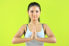 Young yoga female doing yogatic exericise. On flor Royalty Free Stock Image