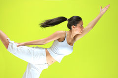 Young yoga female doing yogatic exericise. On flor Royalty Free Stock Photography