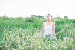 Young yoga woman in lotus pose at meadows. Royalty Free Stock Images