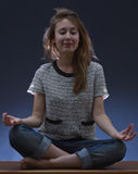 Young zen woman lotus position Stock Image