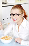 Youngbusineswoman eating her diet meal. Stock Images