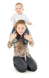 The younger brother of sitting by her sister's neck Stock Photography