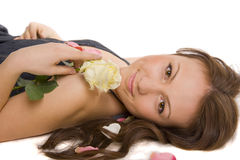 Younger girl with rose Royalty Free Stock Photo