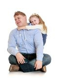 Younger sister hugs her beloved older brother Royalty Free Stock Photos