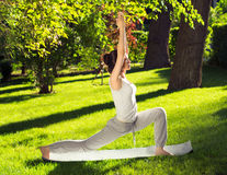 Youngl kvinna som gör yoga i parkera i morgonen Royaltyfria Foton