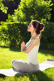 Youngl kvinna som gör yoga i parkera i morgonen Fotografering för Bildbyråer