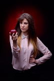 Youngl woman holding  red apple Stock Photos