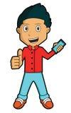 Youngman com Smartphone ilustração stock