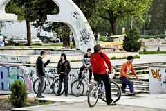 Youngsters in a skateboarding park in Bitola Stock Images