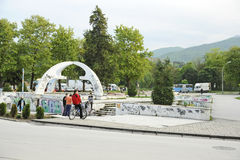 Youngsters in a skateboarding park in Bitola. Macedonia, on May 19th, 2011 Stock Photography