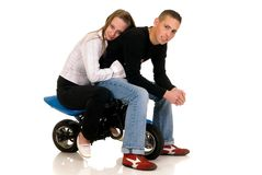 Youngsters with their pocket-bike Royalty Free Stock Image