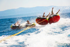 Younsters tubing Royalty Free Stock Images
