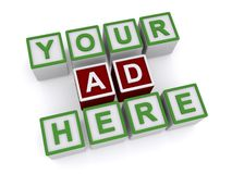Your ad here. Colorful blocks with graphic text spelling your ad here on white background Stock Photos