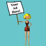 Your ad here sign blond woman illustration stock photography
