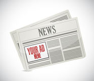Your ad here space on a newspaper. illustration Stock Photo