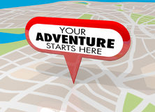 Your Adventure Starts Here Map Pin Fun Begins Now 3d Illustratio. N Royalty Free Stock Image