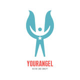 Your angel - vector logo template concept illustration. Human character with wings and star sign. Design element Royalty Free Stock Image