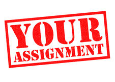 YOUR ASSIGNMENT. Red Rubber Stamp over a white background Stock Photography
