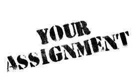 Your Assignment rubber stamp. Grunge design with dust scratches. Effects can be easily removed for a clean, crisp look. Color is easily changed Stock Photo
