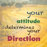 Your Attitude Determines Your Direction. Inspiration quote on nature background, curve road in countryside stock photos