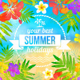 Your best summer holidays label on tropical Stock Photos