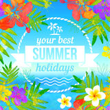 Your best summer holidays label on tropical Stock Photo