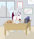 Your bunny wrote. Illustration of rabbit-director, which told by phone and write document Stock Image