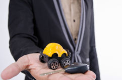 Your car. Your car and business on hand Stock Image